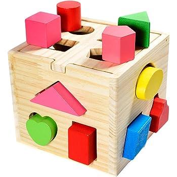 Steckwürfel aus Holz Spielzeug Würfel Puzzle Steckbox für Baby & Kleinkind; Holzspielzeug trainiert Motorik, Lernspielzeug zur Förderung von