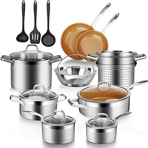 popular Duxtop online sale 17PC Professional Stainless Steel Induction Cookware Set, Stainless Steel Ceramic Nonstick Pan Set, Impact-bonded Technology, lowest FUSION Titanium Reinforced Ceramic Coating, Copper outlet sale