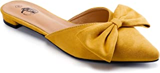 Trary Women's Pointy Toe and Bow Flat Mule Slides