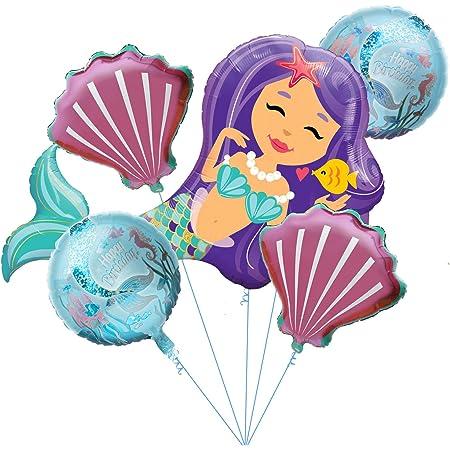 5th 5pcs Mermaid Balloons Number Balloons Birthday Party Girls Mermaid Tail Decoration Supplies Balloon for Mermaid Theme