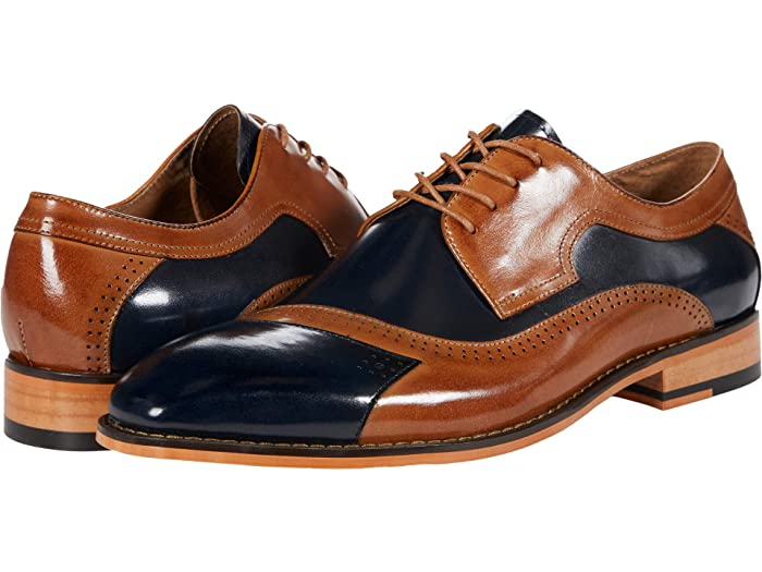 1970s Men's Clothes, Fashion, Outfits Stacy Adams Paxton Cap Toe Oxford Navy Multi Mens Shoes $124.95 AT vintagedancer.com