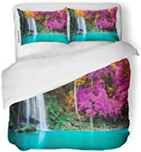 Semtomn Decor Duvet Cover Set Twin Size Green Waterfall in Autumn Forest at Erawan National Park 3 Piece Brushed Microfiber Fabric Print Bedding Set Cover