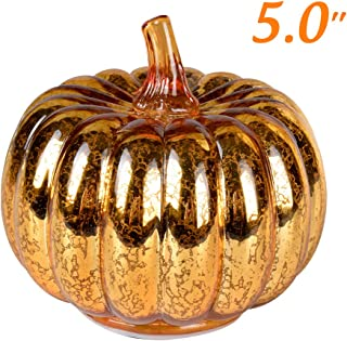 JARVANIA Fall Decor Glass Pumpkins, Halloween Candles LED Fall Decorations, Glass Pumpkins Decorations Made of Mercury, Lanterns Decorative Battery Operated(M Gold)