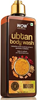 WOW Skin Science Ubtan Body Wash with Chickpea Flour, Almond Extract, Safron & Turmeric Extracts - No Sulphate, Parabens, Silicones & Color - 250 mL