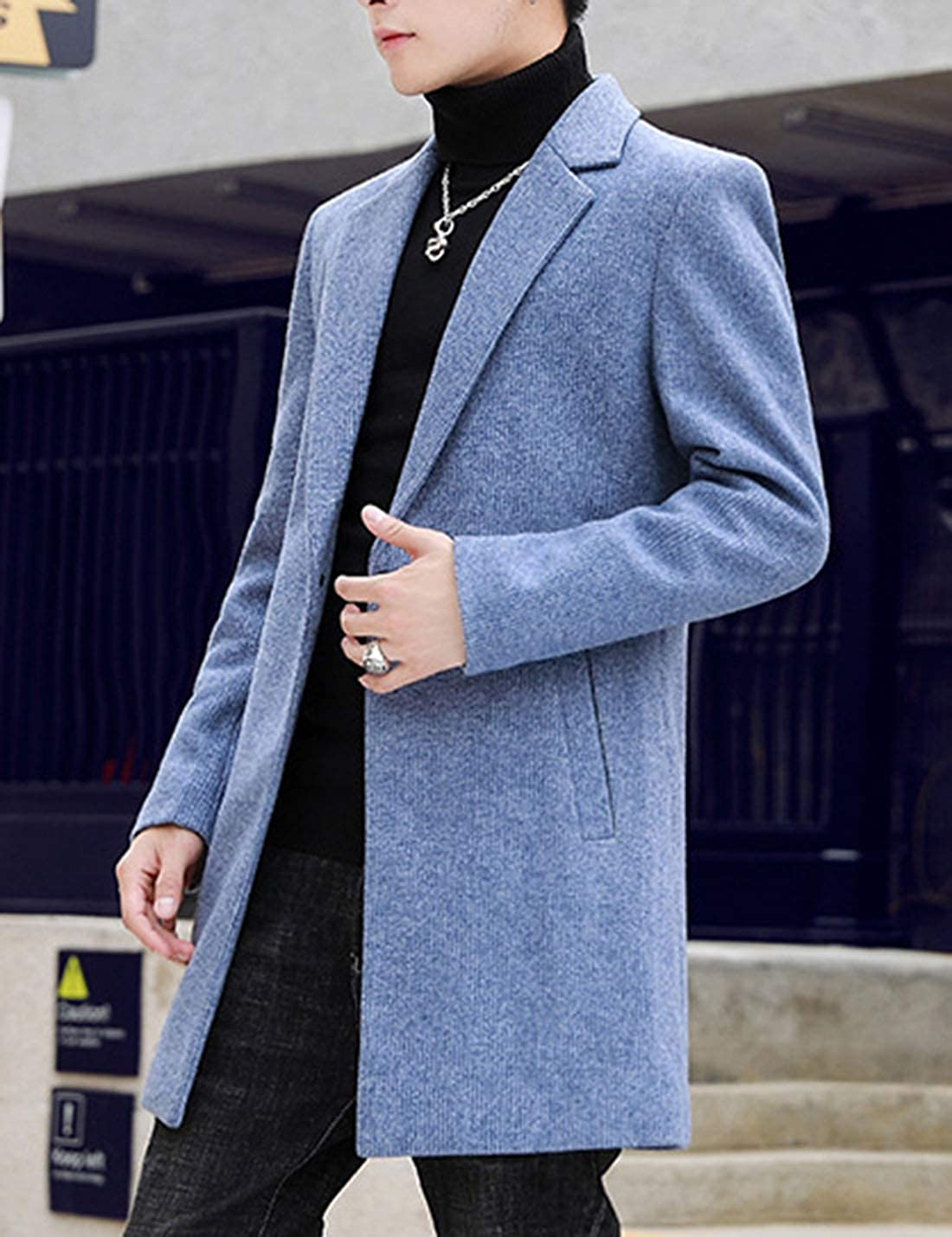 Uaneo Men's Casaul Slim Lapel Collar Houndstooth Mid Long Wool Blend Pea Coat(Blue-L)