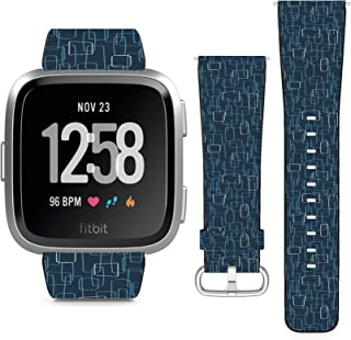 Compatible with Fitbit Versa, Versa 2, Versa Lite, Leather Replacement Bracelet Strap Wristband with Quick Release Pins // Dark Navy Mod Shapes