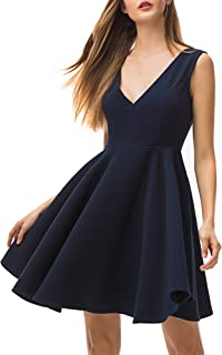 Women's V Neck Cocktail Dresses Summer Sleeveless Vintage Dress for Petite Women A-Line Party Night Out Dress