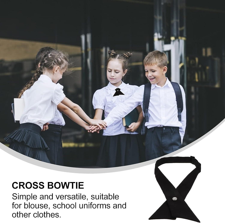 BESTOYARD Cross Bow Tie School Uniform Necktie Solid Color Neck Tie Unisex Adjustable Tie Graduation Ceremony Tie for Graduation Formal Suit Party Black 2PCS