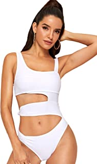 4Clovers Womens Retro 50s V Neck Halter One Piece Swimsuit Ruched Cutout Backless Tummy Control Bathing Suit