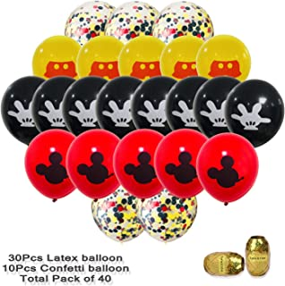40 Pack Mickey Mouse Balloons,12 inch Latex Balloons Red Black Yellow Mickey Color Confetti Balloons Kit for Baby Bbay Party Baby Shower Mickey Mouse Theme Party Supplies