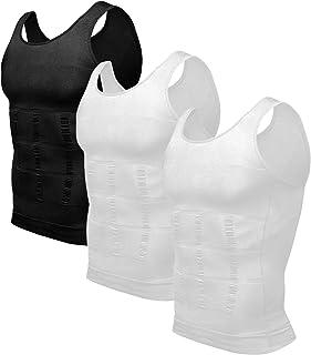 Odoland Mens 3 Pack Body Shaper لاغری Tummy Vest پیراهن فشرده سازی حرارتی مخزن لباس