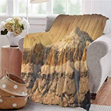 Luoiaax Mountain Commercial Grade Printed Blanket Surreal Saturated Photo of The Italian Twin Mountain Peaks with Silent Overcast Sky Queen King W80 x L60 Inch Sepia