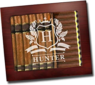 Custom Personalized Premium Cigar Humidor Box with Hygrometer, Humidifier and Glass Top - Engraved Wood Cigar Box Gift Set...