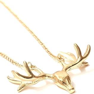 Deer Necklace Elk Skull Antlers Taxidermy Gold Tone NM04 Animal Stag Charm Vintage Pendant