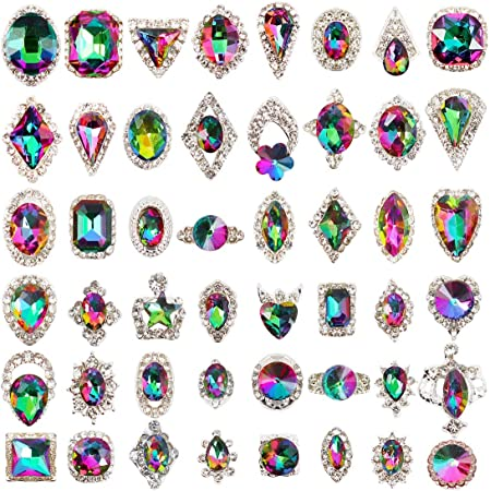 48pcs Big Mix Sizes Different Shape Colorful AB Iridescent 3D Crystals Diamonds Large Rhinestones Bow Silver Metal Charms Gems Stones for Nail Art Beauty Design Decoration Craft Jewelry DIY