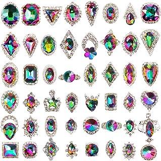 (48ps Large Silver Rhinestone Gems) - 48pcs Big Mix Sizes Different Shapes Colourful AB Iridescent 3D Crystals Diamonds La...