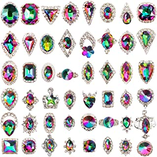 48pcs Big Mix Sizes Different Shapes Colorful AB Iridescent 3D Crystals Diamonds Large Rhinestones Bow Silver Metal Charms Gems Stones for Nail Art Beauty Design Decoration Craft Jewelry DIY