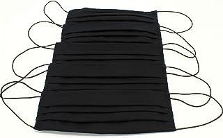 5 Mascherine artigianali in doppio strato di puro cotone neri con tasca per inserimento ulteriore protezione (con elastici...