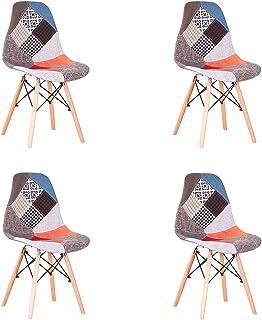 GrandCA HOME Pack de 4 sillas Sillas de Retazos Multicolores en Tela de Lino Sillas de Sala de Estar de Ocio Sillas de Comedor con Respaldo de cojín Suave (Rojo)