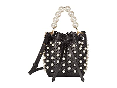 ZAC Zac Posen Lacey Drawstring Crossbody Pearl (Black) Handbags