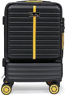 Hard Bowl Trolley Valigia Roll Case Valigia Twin Wheels Valigia Set con Ruote Girevoli & TSA Lock 20 pollici (S, Black)