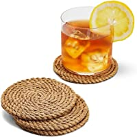 pepme Jute Braided Rustic Vintage Tea Coaster for Dining, Bedside Table, Cup, Decoration mat (Round, 10x10 cm, Pack of 6)