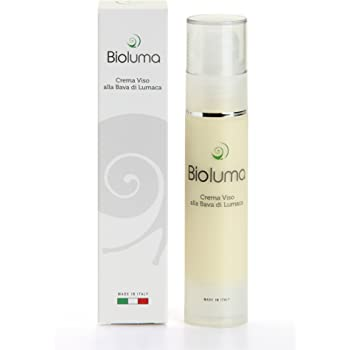 Bioluma Bava di Lumaca Crema Viso Antiage 50ml con Acido Ialuronico Collagene Vitamina E Azione Idratante Nutriente Uniformante Equilibrante Coadiuvante Trattamento Rughe Collo Decolletè Made in Italy