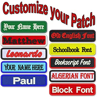 """Custom Name Patch 4"""" x 1"""" Embroidered Iron On/Sew On Personalized"""