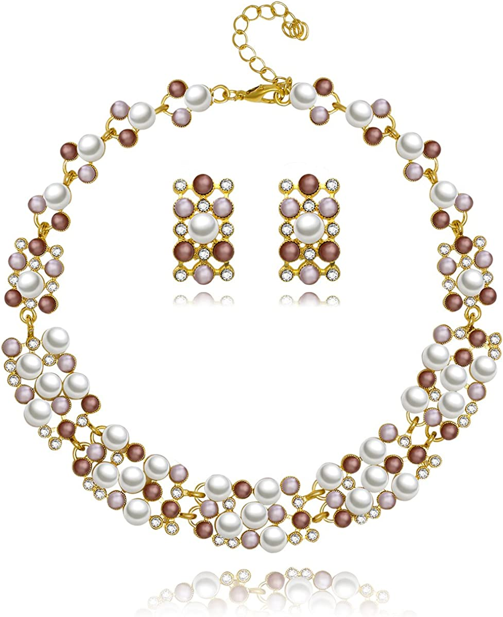 MOOCHI Colorful Beads Connected Chain Necklace Earrings Jewelry Set