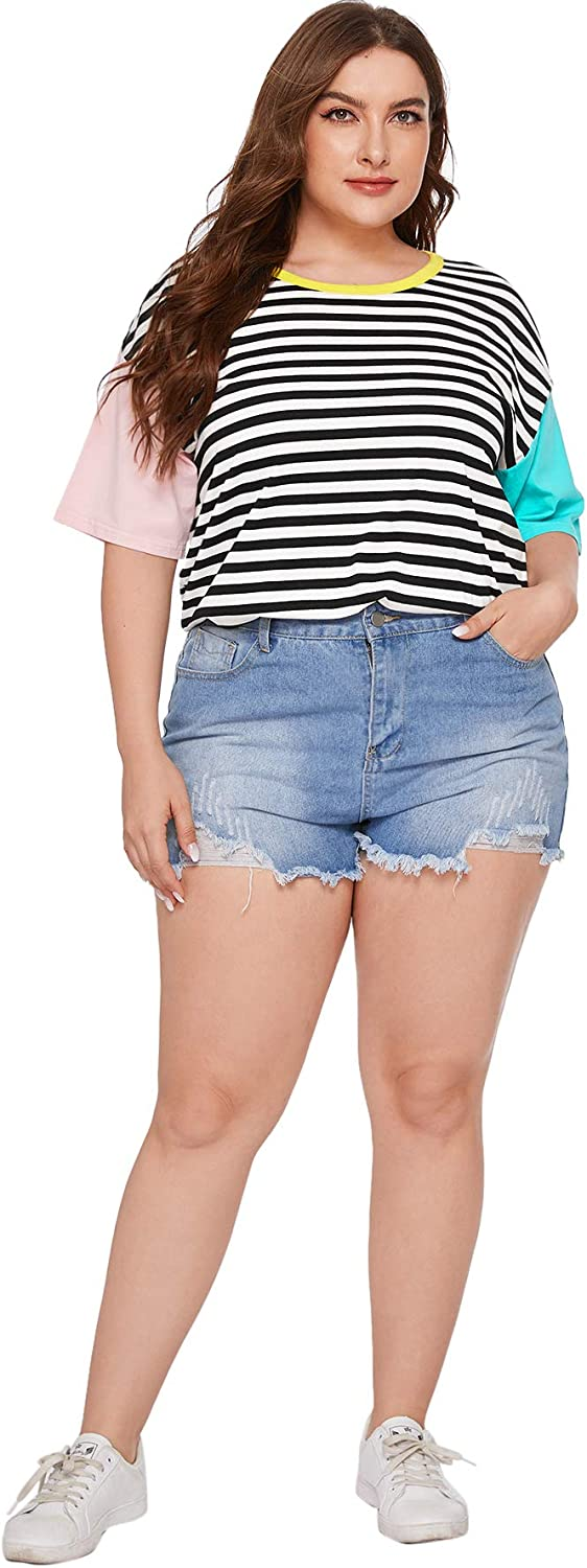 90s Clothing Outfits You Can Buy Now Romwe Women Crewneck Striped Short Sleeve T-Shirt Top Blouse  AT vintagedancer.com