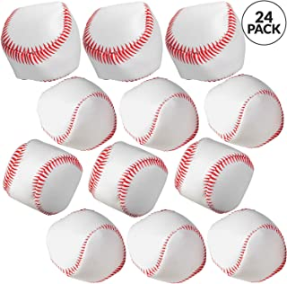 """Bedwina Mini Soft Baseballs - Pack of 24 Bulk - 2"""" Sports Themed Foam Baseball Toys and Squeeze Stress Relief Balls, Party Favor Supplies, Gifts and Stocking Stuffers for Kids"""
