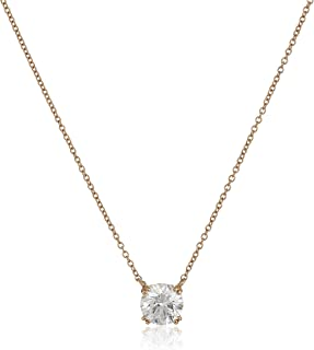 Platinum or Gold-Plated Sterling Silver Round-Cut Swarovski Zirconia Solitaire Pendant Necklace