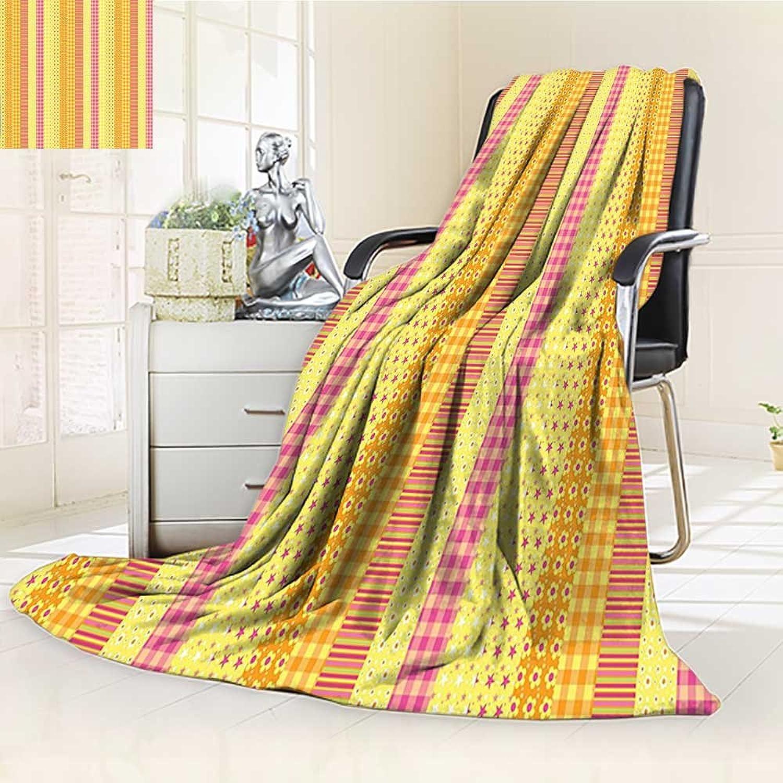 YOYI-HOME Fashion Designs Warm Duplex Printed Blanket Stripes Mix Patchwork Style Motif Kids Baby Playroom Design Yellow Marigold Pink Sofa,Air-Conditioner Room  W59 x H39.5