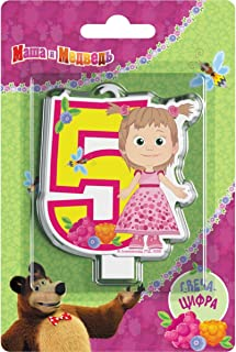 Сandle on a Cake Topper 5 Years Masha and the Bear Must Have Accessories for The Party Supplies and Birthday Masha y el OSO para niños