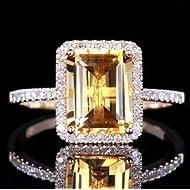 Fashion Women Jewelry 925 Silver Citrine Wedding Jewelry Ring Gift Size (6)