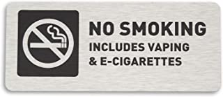 No Smoking Vaping E-Cigarettes Sign - Brushed Aluminum - by GDS Architectural Signage