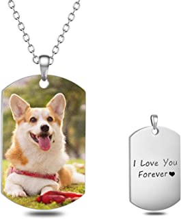 Personalized Full Color Photo Engraved Stainless Steel Necklace Custom Dog Tag Picture Image with Message Name Text Pendant