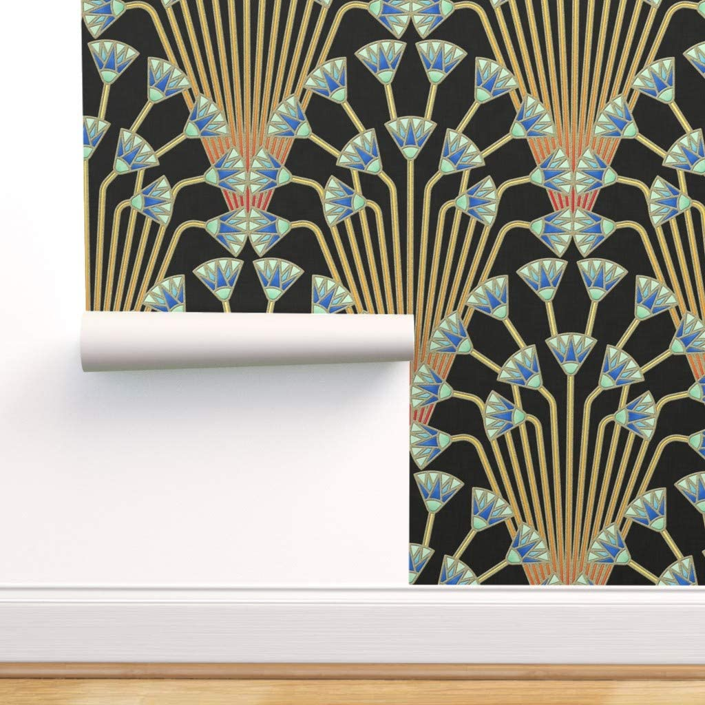 Spoonflower 入荷予定 Peel and Stick Removable Flower Wallpaper A 返品送料無料 Papyrus