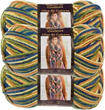 Lion Brand Yarn (3 Pack Color Waves Acrylic & Wool Yarn Light #3 Soft Yarn for Knitting Crocheting, Cactus Flower