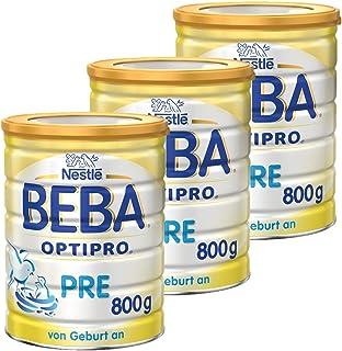 Nestlé BEBA雀巢贝巴 OPTIPRO Pre段初始婴儿奶粉 适合新生儿 3罐装 (3 x 800 g)(不含助溶剂,冲泡需用力摇,冲后有结晶非品质问题,请放心食用)