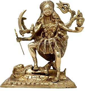 Sharvgun Large Goddess Kali Idol for Puja Brass Sculpture Art Indian Décor Religious Items for Home Temple 9 Inch
