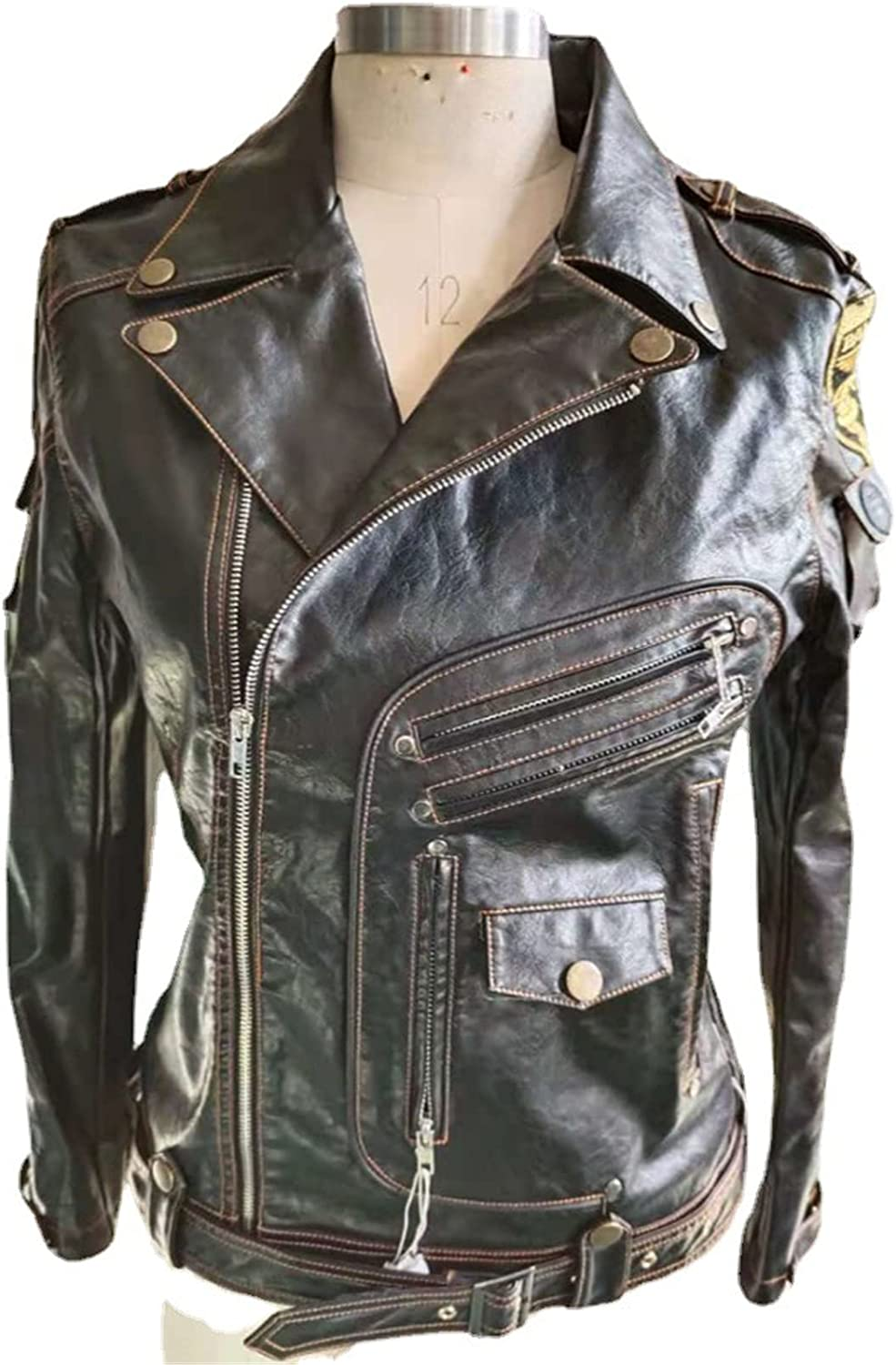 WMJL Men's Motorcycle Leather Jacket Casual Stand Collar PU Faux Leather Zip-Up for Ridding,XL