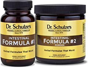 Dr. Schulze's | Intestinal Formula #1 & #2 Combo | Colon Cleanse Detox | Dietary Supplement | Natural Constipation Relief | Remove Excess Waste & Build-Up | Herbal Tablets & Powder | 90 Count/8 Oz Jar