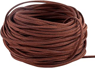 Navifoce Genuine Flat Suede Leather Cord Lace Beading Craft Thread String, 3mm, 20m pool (Caffee)