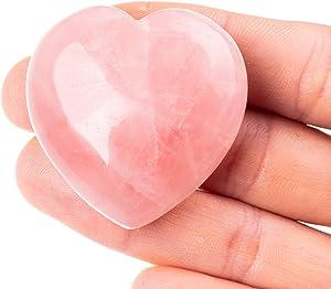 Unihom Rose Quartz Heart Stone Puffy Shaped Love Palm Stone for Decoration - 1.55