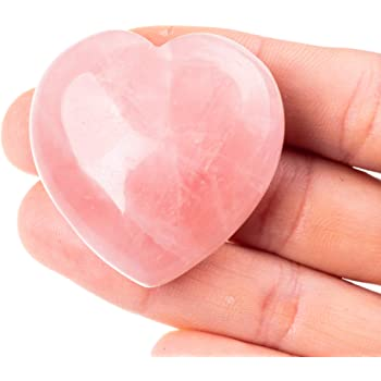 Unihom Rose Quartz Heart Stone Puffy Worry Stone Palm Healing Crystal for Chakra Reiki Balancing, Meditation and Decoration - 1.55""