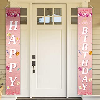 PAKBOOM Happy Birthday Cheers to 93 Years Pink Yard Sign Door Banner 93rd Birthday Decorations Party Supplies