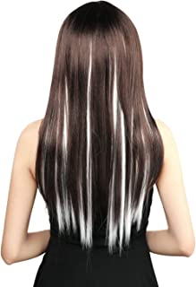 Neitsi 10pcs 18inch Colored Highlight Synthetic Clip on in Hair Extensions #1001 White