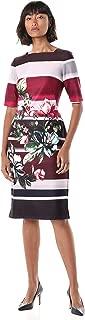 GABBY SKYE Women's Elbow Sleeve Square Neck Floral Print Midi Sheath Dress