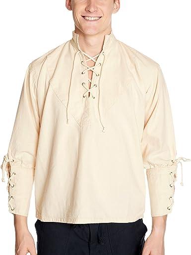 Camisa de pirata con cuello alto, estilo gótico medieval, natural 1605